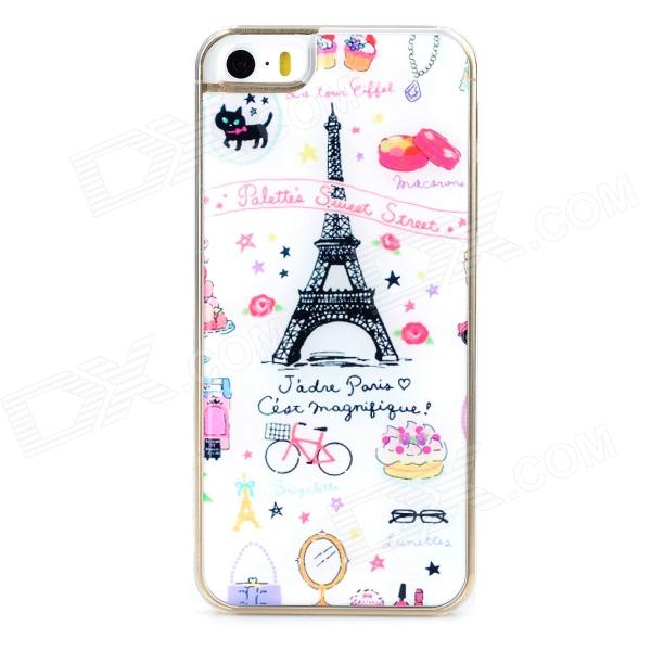 Fashion Eiffel Tower Style Protective Epoxy Back Case for Iphone 5 / 5s - White + Pink + Black ipega i5056 waterproof protective case for iphone 5 5s 5c pink