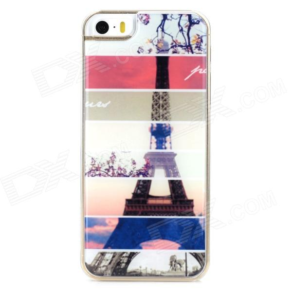 Stylish Eiffel Tower Style Protective Epoxy Back Case for Iphone 5 / 5s - Multicolor protective cartoon eiffel tower epoxy dripping plastic back case for iphone 4 4s deep pink