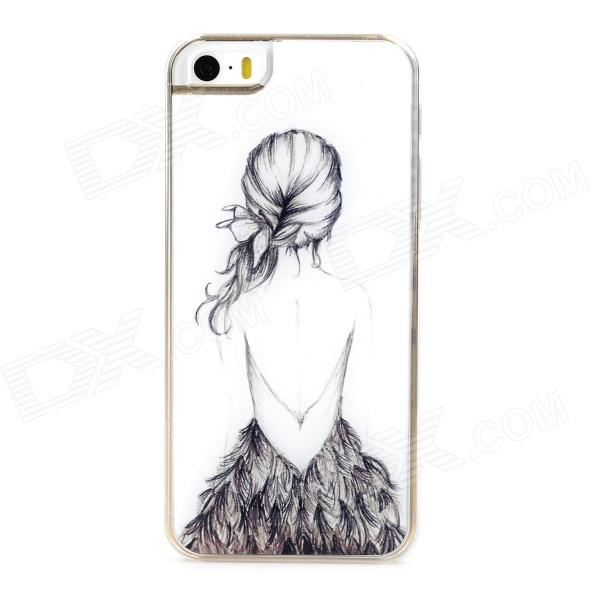 Beautiful Gril's Back Style Protective Epoxy Back Case for Iphone 5 / 5s - White + Grey
