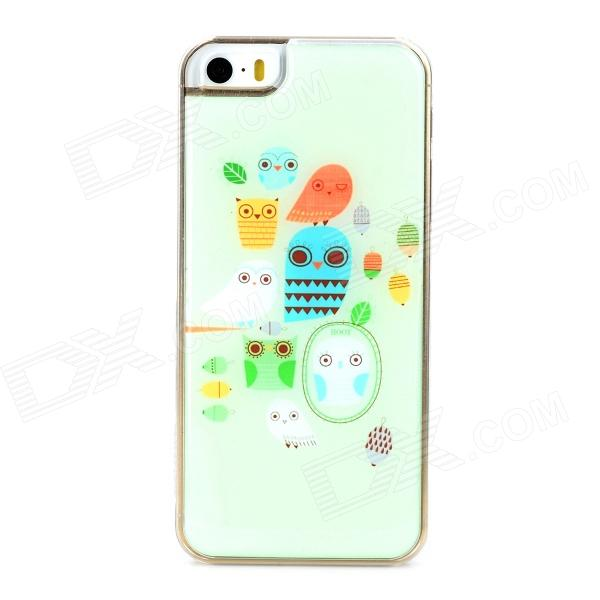 Cute Owls Style Protective Epoxy Back Case for Iphone 5 / 5s - Light Green cute girl pattern protective rhinestone decoration back case for iphone 5 light pink light blue