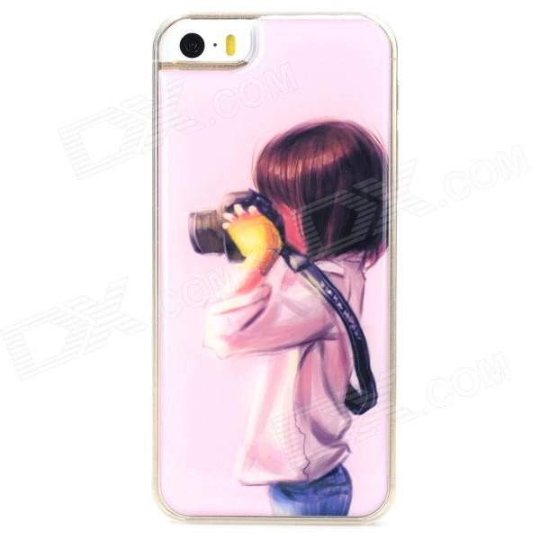 Girl with Camera Style Protective Epoxy Back Case for Iphone 5 / 5s - Pink pickogen he 077 uv fisheye macro wide angle camera lens with led for iphone samsung pink