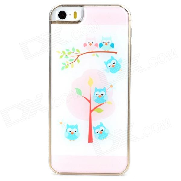 Cute Six Owls Style Protective Epoxy Back Case for Iphone 5 / 5s - Light Pink + White cute girl pattern protective rhinestone decoration back case for iphone 5 light pink light blue