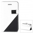 Stylish Protective PU Leather + Plastic Case w/ Card Holder Slots for Iphone 4 / 4S - White + Black