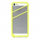 2-in-1 Protective Silicone + PVC Bumper Frame Case for Iphone 5S - Yellow Green + White