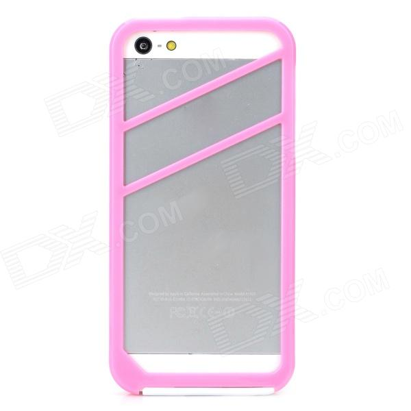 2-in-1 Protective Silicone + PVC Bumper Frame Case for Iphone 5 / 5s - Pink + White