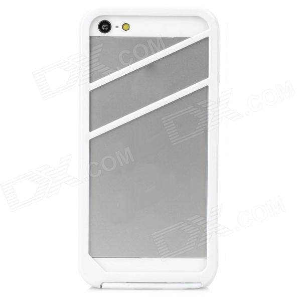 2-in-1 Protective Silicone + PVC Bumper Frame Case for Iphone 5S - White