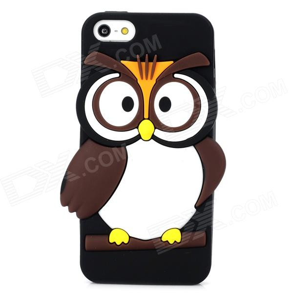 Cute Owl Style Protective Silicone Back Case for Iphone 5 / 5s - Black ipega i5056 waterproof protective case for iphone 5 5s 5c pink