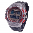 OHSEN AD1301 Men's Sport Analog + Digital Quartz Wrist Watch - Black + Red (1 x CR-2025)