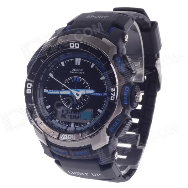 OHSEN AD1308 Men's Sport Analog + Digital Quartz Wrist Watch - Black + Purple (1 x CR-2025) splendid brand new boys girls students time clock electronic digital lcd wrist sport watch