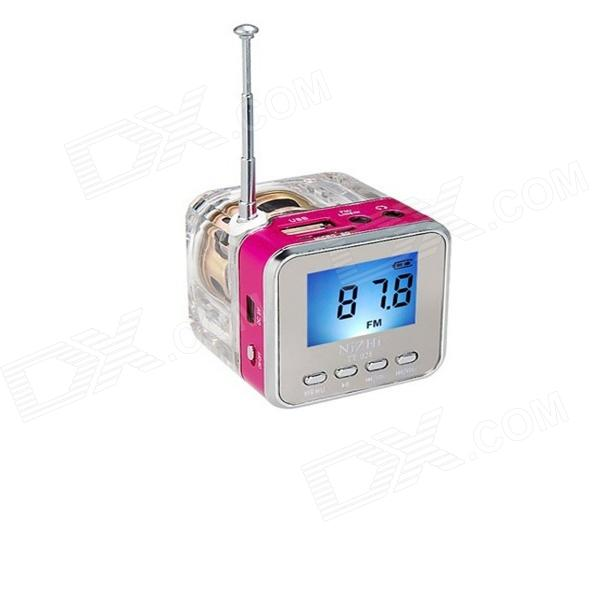 TT-028 Colorful Flash Mini Speaker w/ FM, TF Card Reader & Clock - Red