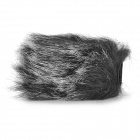 Universal Rabbit Hair Windproof Cover for Camera Microphone - Black + White