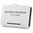 1080P VGA to HDMI High Definition AV Converter w/ Audio-In - White + Black (EU Plug)