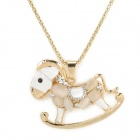 Cute Little Rocking Horse Style Gold Plated Alloy Cat's Eye Necklace