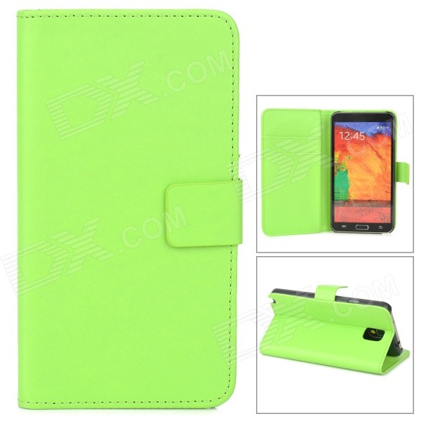 Protetcive Flip Open PU Leather Case w/ Stand / Card Slots for Samsung Galaxy Note 3 N9000 - Green protective pu leather flip open case w stand for samsung note 3 n9000 deep pink light green