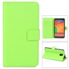 Protetcive Flip Open PU Leather Case w/ Stand / Card Slots for Samsung Galaxy Note 3 N9000 - Green