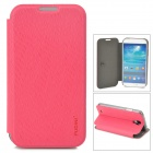 Protective PU Leather + PC Flip-open Holder Case for Samsung Galaxy S4 i9500 - Deep Pink