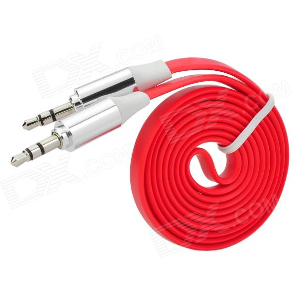 3.5mm Male to Male Audio Connection Flat Cable - Red (1m) 3 5mm male to male audio connection nylon cable white red black 1m