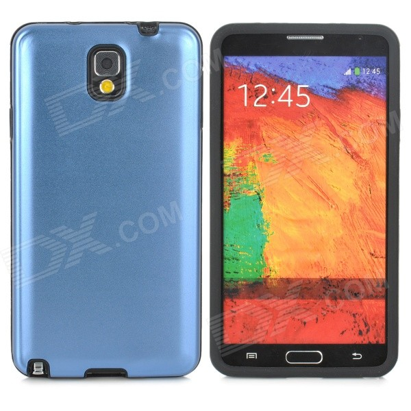 Stylish Aluminum + Silicone Back Case for Samsung Note 3 / N9000 - Blue + Black