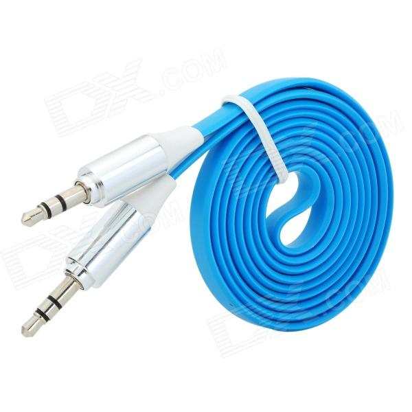 3.5mm Male to Male Audio Connection Flat Cable - Blue (1m)