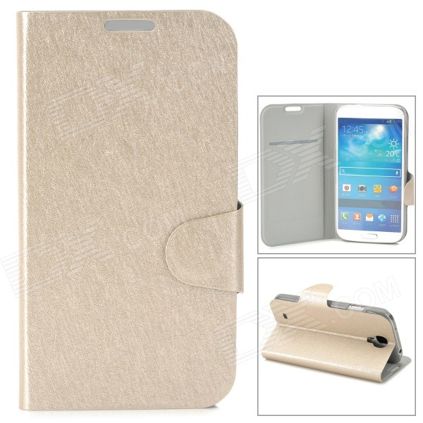 Protective Ice Crystal Style PU Leather Flip Open Case w/ Card Slot for Samsung i9500 - Champagne protective flip open pu leather case for samsung galaxy s4 i9500 white