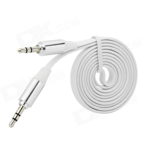 3.5mm Male to Male Audio Connection Flat Cable - White (1m) 3 5mm male to male audio connection nylon cable white red black 1m