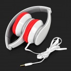 SOUND INTONE I50 Foldable Headband 3.5mm Plug Stereo Headphone w/ Microphone - White + Red + Grey