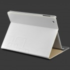 bnm23 Ultra Thin Embossing Smart PU Leather Case w/ Card Slot for Ipad 2 / 3 / 4 - White