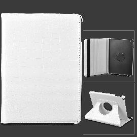 Alligator Pattern 360 Degree Rotatable PU Leather Case for Ipad AIR - White