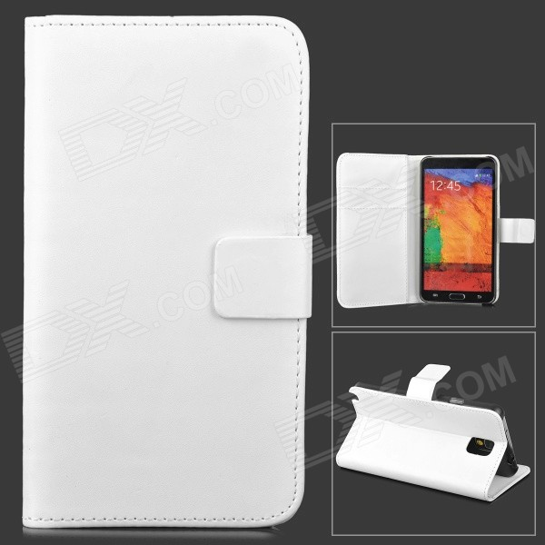 Protective Flip Open PU Leather Case w/ Stand for Samsung Galaxy Note 3 N9000 - White protective flip open pu case w stand card slots strap for samsung galaxy note 3 n9000 white