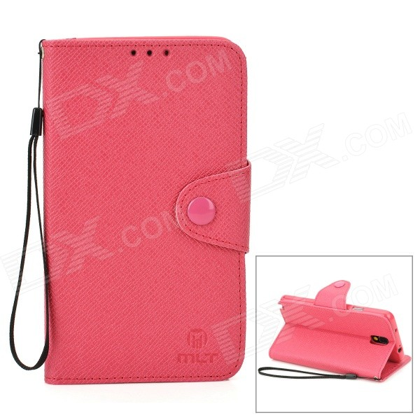 Protective PU Case w/ Stand / Strap for Samsung Galaxy Note 3 / N9000 / N9005 + More - Deep Pink protective flip open pu case w stand card slots strap for samsung galaxy note 3 n9000 white