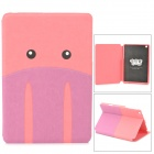 Kadingqi Cute Cartoon Pig Style Protective PU Leather + Plastic Case for Ipad MINI - Pink + Purple