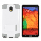 Stylish PC + Silicone Back Case w/ Stand for Samsung Galaxy Note 3 / N9000 - White + Grey