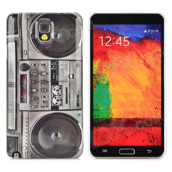 Retro Radio Style Protective Plastic Back Case for Samsung Galaxy Note 3 N9000 - Black + Grey protective aluminum alloy pc back case for samsung galaxy note 3 n9000 more red black