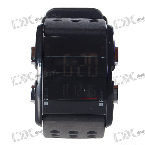Silicone Band LED Fashion Wrist Watch - Black (1*CR2016)