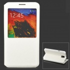 Protective Flip Open PU Leather Case w/ Display Window / Stand for Samsung Note 3 N7200 - White
