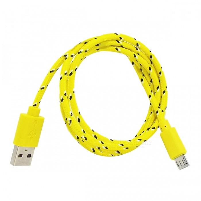 Micro USB Male to USB Male Nylon Charging Data Cable for Samsung - Yellow + Purple (100 cm) original remax 2 1a golden noodle style micro usb charging data cable for cellphone