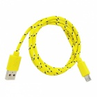 Micro USB Male to USB Male Nylon Charging Data Cable for Samsung - Yellow + Purple (100 cm)