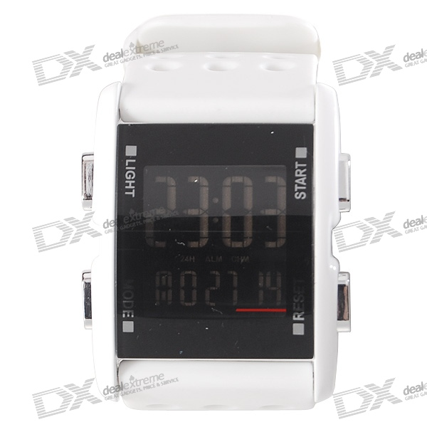 Silicone Band LED Fashion Wrist Watch - White (1*CR2016)