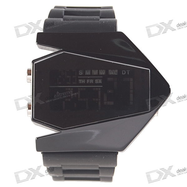 Silicone Band LED Fashion Wrist Watch with Weekday Display - Black (1*CR2025)