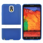 Protective TPU Silicone Back Case w/ Stand for Samsung Galaxy Note 3 - Translucent Blue + White