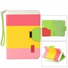 ZS0012 Protective PU Leather Case w/ Auto Sleep for Retina Ipad MINI - White + Deep Pink + Yellow