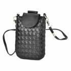 Woven Style PU Leather Cell Phone Shoulder Bag Change Purse - Black