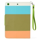 Contrast Color Style PU Leather Case for Retina Ipad MINI - White + Blue + Brown + Orange