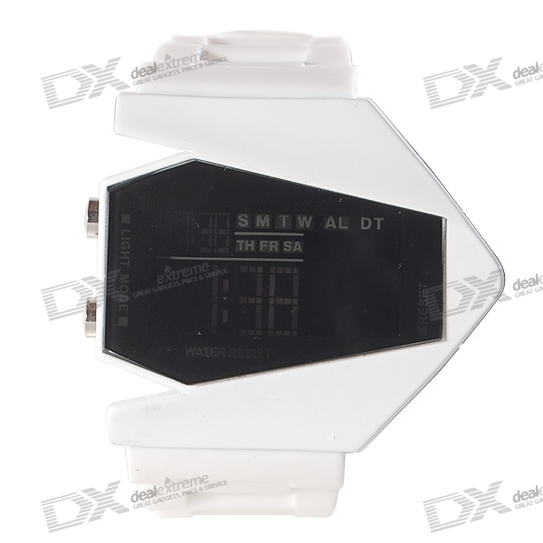 Silicone Band LED Fashion Wrist Watch with Weekday Display - White (1*CR2025)