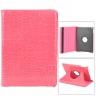 Alligator Pattern 360 Degree Rotatable PU Leather Case for Ipad AIR - Deep Pink