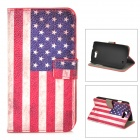 American Flag Pattern PU Leather Case for Samsung Galaxy Express i8730 - Red + White + Blue