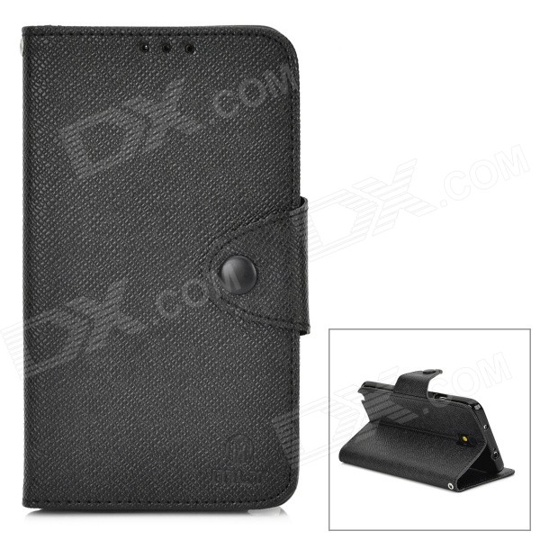 Protective PU Leather Case w/ Card Holder Slots for Samsung Galaxy Note 3 N9000 - Black protective flip open pu case w stand card slots strap for samsung galaxy note 3 n9000 white