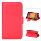 Protective PU Leather + PC Case w/ Card Holder Slot for Samsung Galaxy Note 3 N9000 - Red