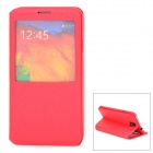 Silk Style Protective PU Leather Case w/ Display Window for Samsung Galaxy Note 3 N7200 - Red