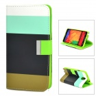 Protective PU Leather + TPU Case w/ Card Holder Slots for Samsung Galaxy Note 3 N9000 - Multicolor